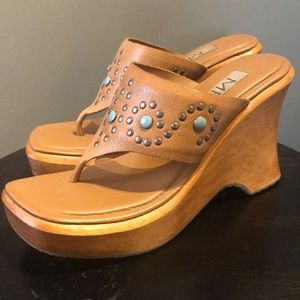 MIA Wedges 7 Metal Studs & Turquoise Accents